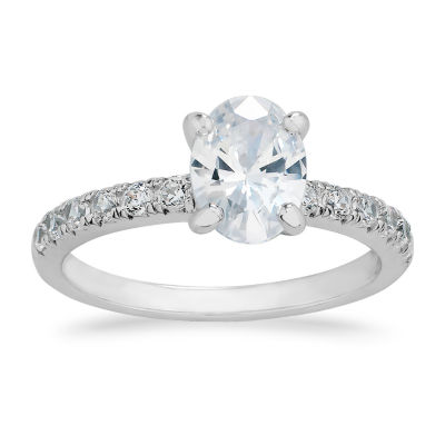 Swarovski Womens White Cubic Zirconia Sterling Silver Engagement Ring