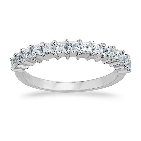 White Cubic Zirconia Sterling Silver Band