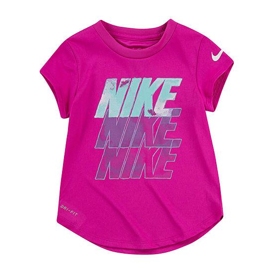 Nike Little Girls Dri-Fit Crew Neck Short Sleeve Graphic T-Shirt