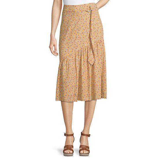 Rewind Womens Midi Asymmetrical Skirt-Juniors