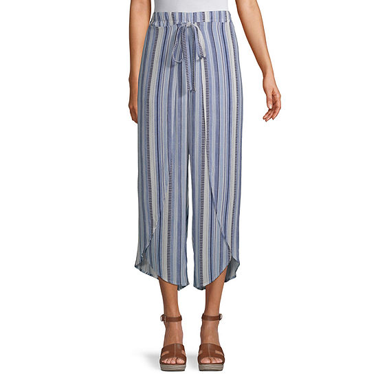 Byer California-Juniors Womens Mid Rise Wide Leg Flat Front Pant
