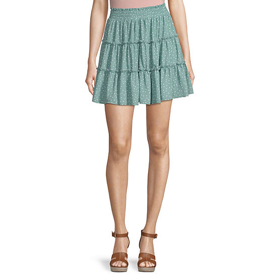 Byer California Womens Low Rise Short Flared Skirt-Juniors