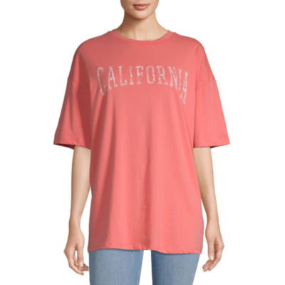 Flirtitude Juniors-Womens Round Neck Short Sleeve T-Shirt
