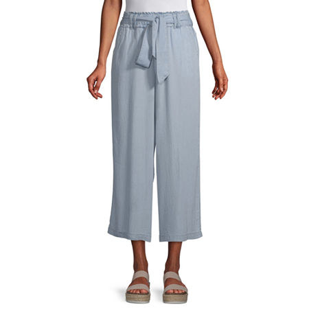 a.n.a Mid Rise Belted Cropped Pants, X-small , Blue
