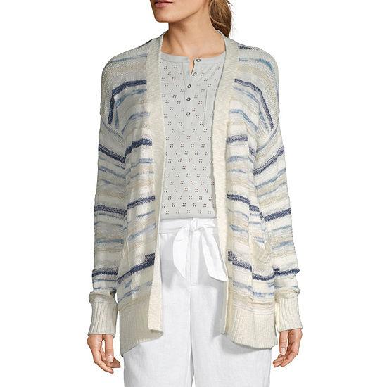 Liz Claiborne Womens Long Sleeve Open Front Striped Cardigan