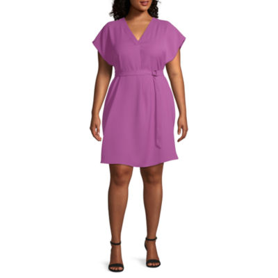 Worthington Womens SS VNeck Dress w/ Sash  - Plus