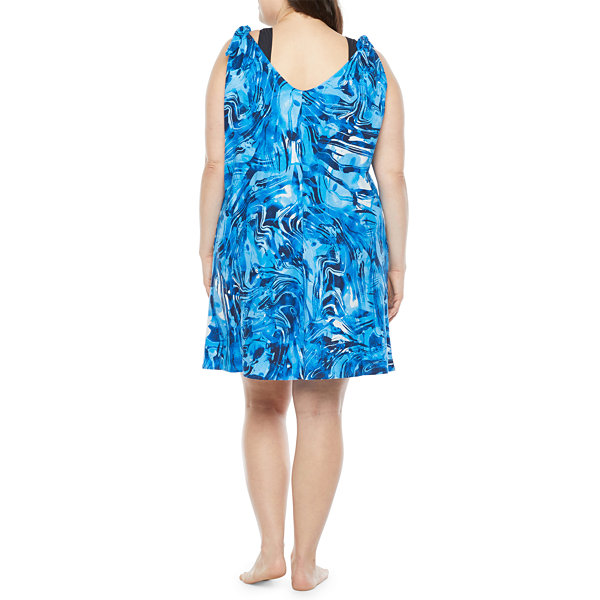 Peyton & Parker Womens Waves Dress Swimsuit Cover-Up Plus