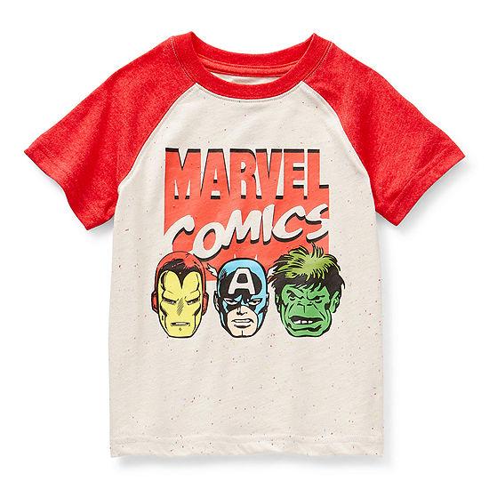 Okie Dokie Toddler Boys Crew Neck Marvel Short Sleeve Graphic T-Shirt