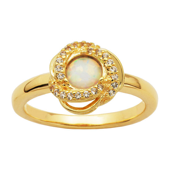 Womens Genuine White Opal 18K Gold Over Silver Cocktail Ring