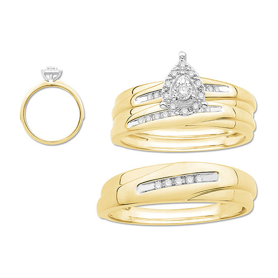 3PC Trio Set Featuring 1/7 CT. T.W. Diamond 10K Two Tone Gold Womens Size 7 Bridal Set and Mens Size 10.5 Band