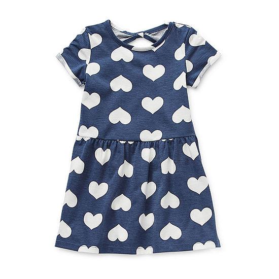 Okie Dokie Little Girls Short Sleeve A-Line Dress