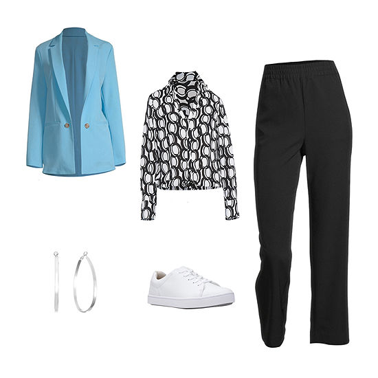 SUMMER SKY BLAZER: Worthington Blazer, Blouse, Pull-On Pants & Clarks Shoes