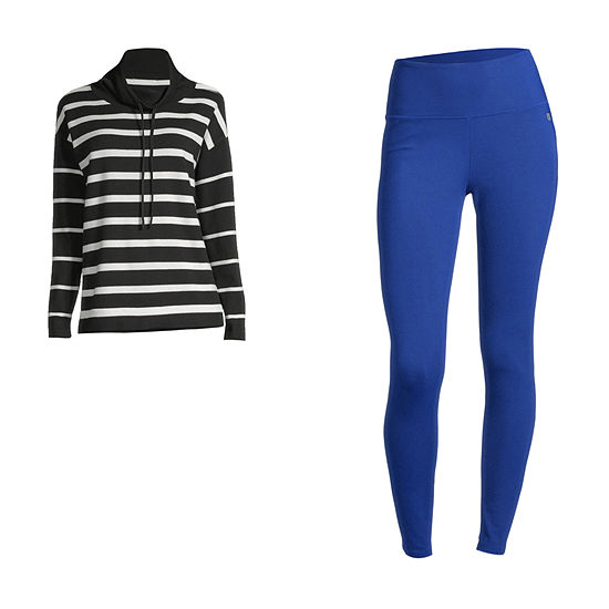 LIZ STRIPE/LEGGING: Liz Claiborne Cowl-Neck Top & Leggings