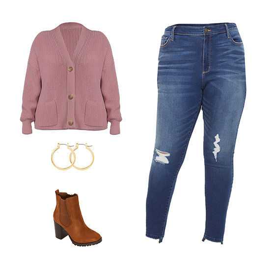 PLUS ANA PINK/HR JEAN: a.n.a Cardigan, High-Rise Jeggings & Motorcycle Boots