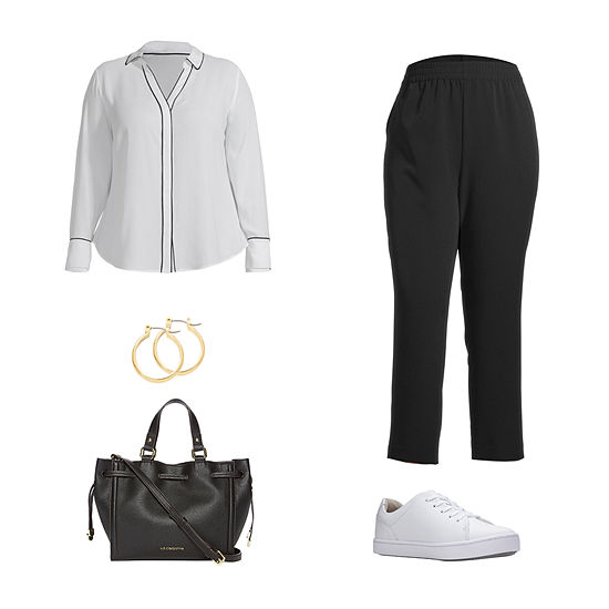 PLUS WT WHITE/BLACK : a.n.a Peplum Balloon Top, Button-Fly Skinny Jeans & Boots