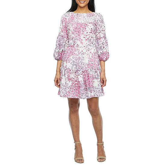 Danny & Nicole 3/4 Balloon Sleeve Floral Babydoll Dress with Coordinating Face Mask