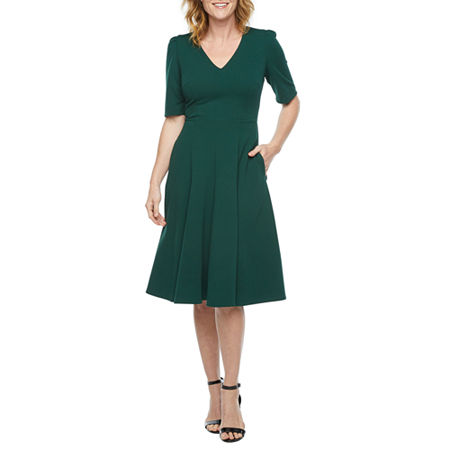 1940s Dress Styles Ivy  Blue Short Sleeve Fit  Flare Dress 8  Green $37.49 AT vintagedancer.com