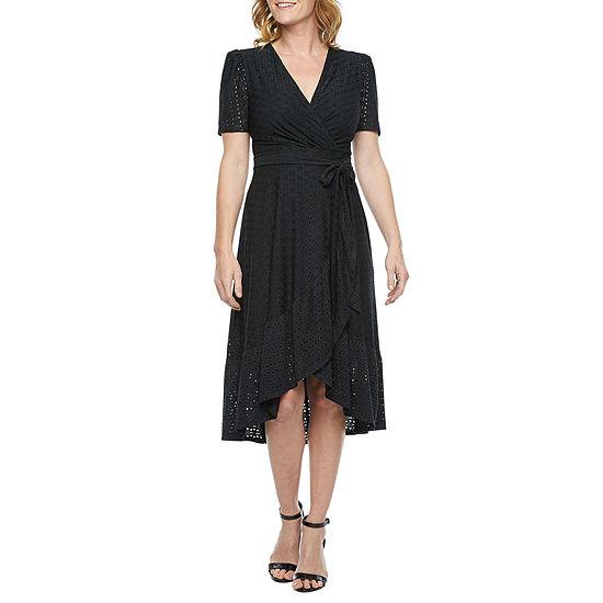 London Style Short Sleeve Eyelet High-Low Wrap Dress