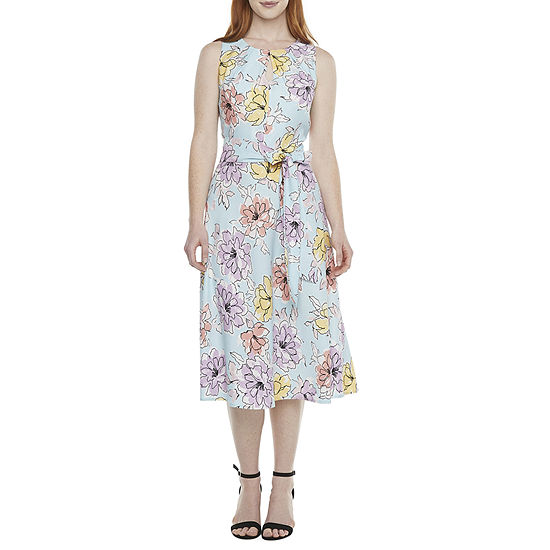 Black Label by Evan-Picone Sleeveless Floral Midi Fit & Flare Dress