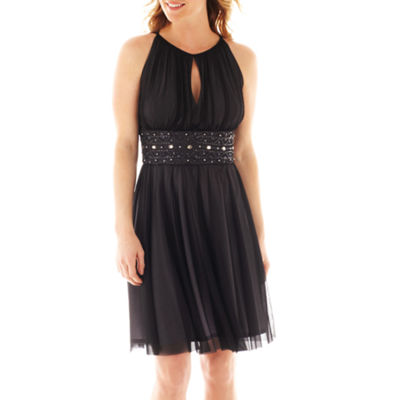 La Nouvelle Renaissance Sleeveless Beaded-Waist Dress