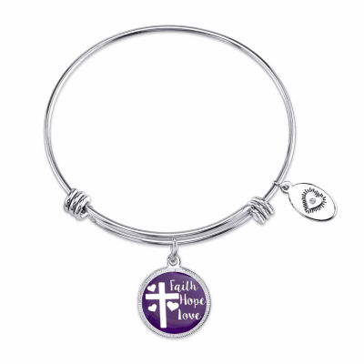 Footnotes White Stainless Steel Bangle Bracelet