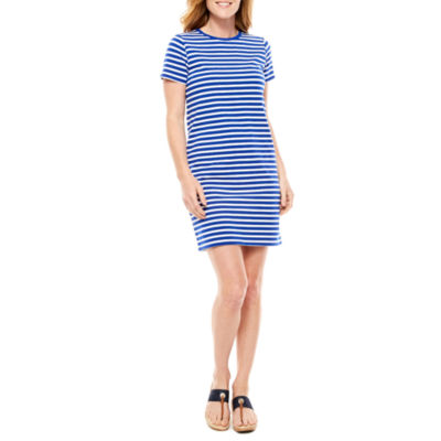 St. John's Bay Short Sleeve Stripe Shift Dress