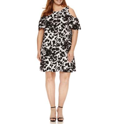 Dr Collection Elbow Sleeve Cold Shoulder Sheath Dress-Plus