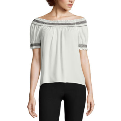 by&by Short Sleeve Boat Neck Crepe Blouse-Juniors