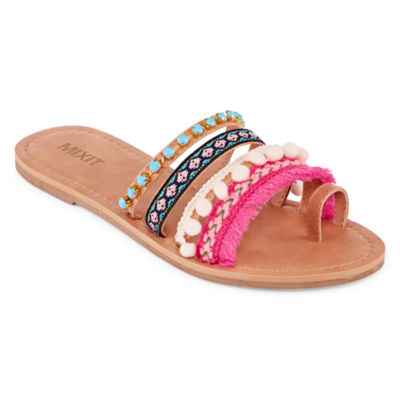 Mixit Pom Womens Slide Sandals