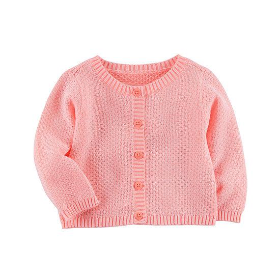 Carter's Girls Round Neck Long Sleeve Cardigan - Baby
