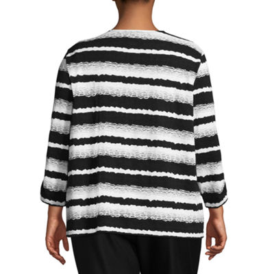 Alfred Dunner Upper East Side Striped Layered Sweater- Plus