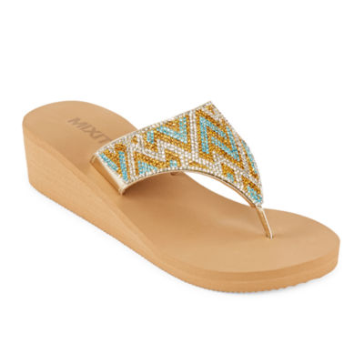 Mixit Embellished Shield Wedge Flip-Flops