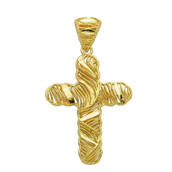 Womens 10K Gold Cross Pendant