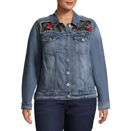 Arizona Lace Patch Denim Jacket-Juniors Plus