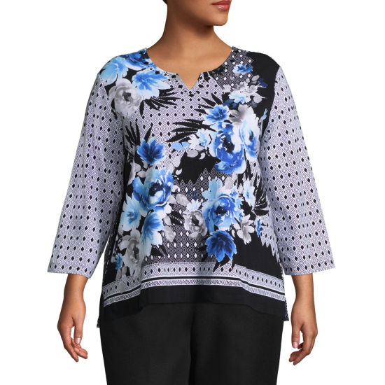 Alfred Dunner Upper East Side Texture Floral Tee- Plus