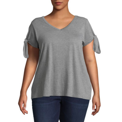 Boutique + Short Tie Sleeve T-Shirt - Plus