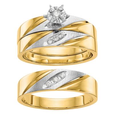 Womens 1/10 CT. T.W. Genuine White Diamond 14K Gold Round Bridal Set