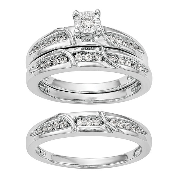 Womens 1/5 CT. T.W. White Diamond 14K Gold Bridal Set