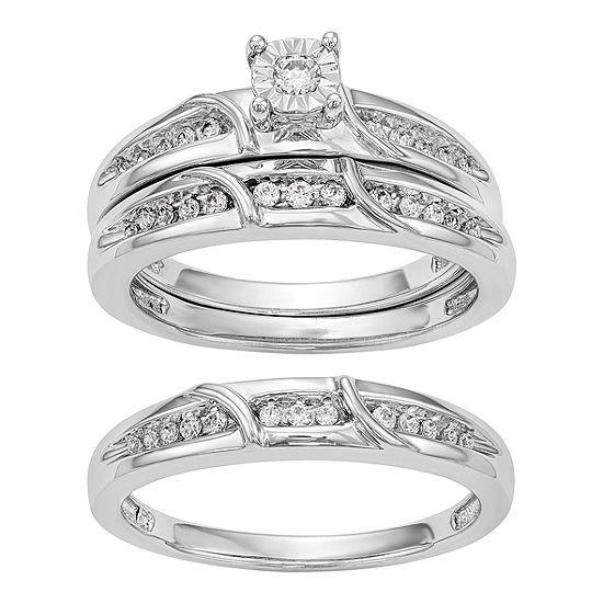 Womens 1/5 CT. T.W. Genuine White Diamond 14K White Gold Round Bridal Set