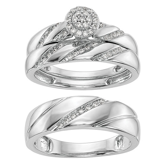 Womens 1/5 CT. T.W. Genuine White Diamond 14K White Gold Round Bridal Set