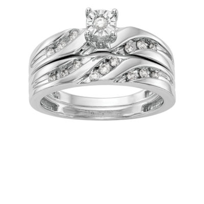 Womens 1/4 CT. T.W. Genuine White Diamond 14K White Gold Round Bridal Set