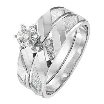 Womens Diamond Accent Genuines White Diamond 14K White Gold Round Bridal Set