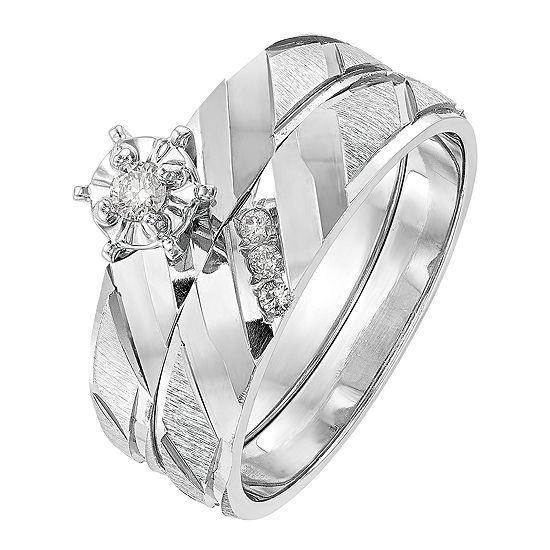 Womens Diamond Accent Genuine White Diamond 14K White Gold Round Bridal Set