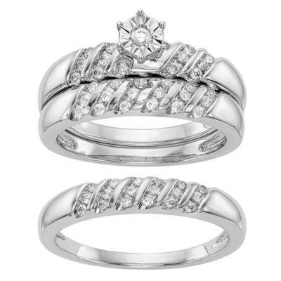 Womens 1/3 CT. T.W. Genuine White Diamond 14K White Gold Round Bridal Set