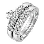 Womens 1/3 CT. T.W. Genuine White Diamond 14K White Gold Round Bridal Set