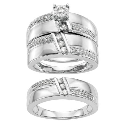 Womens 1/3 CT. T.W. Genuines White Diamond 14K White Gold Round Bridal Set