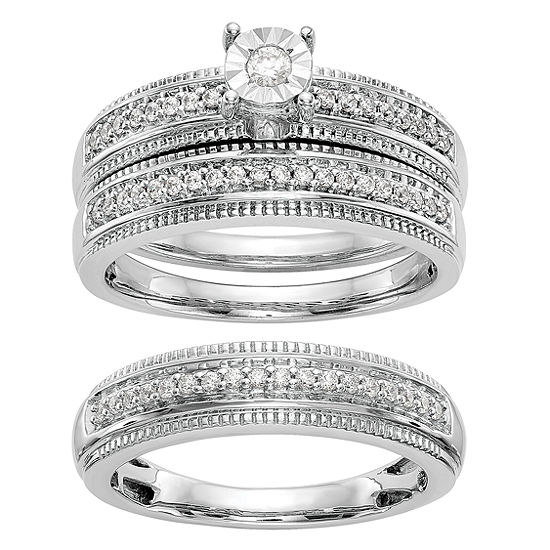 Womens 1/4 CT. T.W. Genuine White Diamond 14K White Gold Round Bridal Set