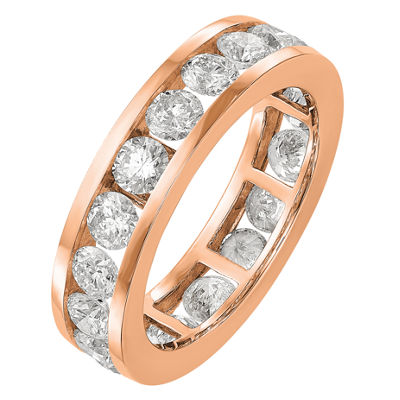 Womens 5mm 3 CT. T.W. Genuine White Diamond 14K Rose Gold Round Eternity Band