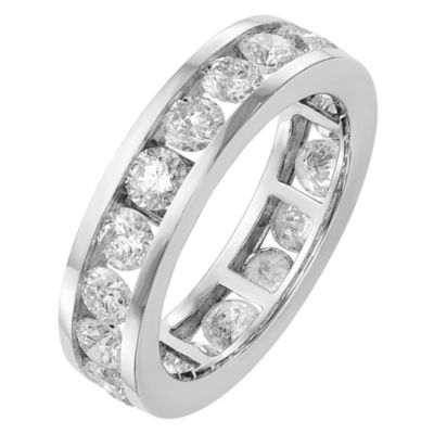 Womens 5mm 3 CT. T.W. Genuine White Diamond 14K White Gold Round Eternity Band