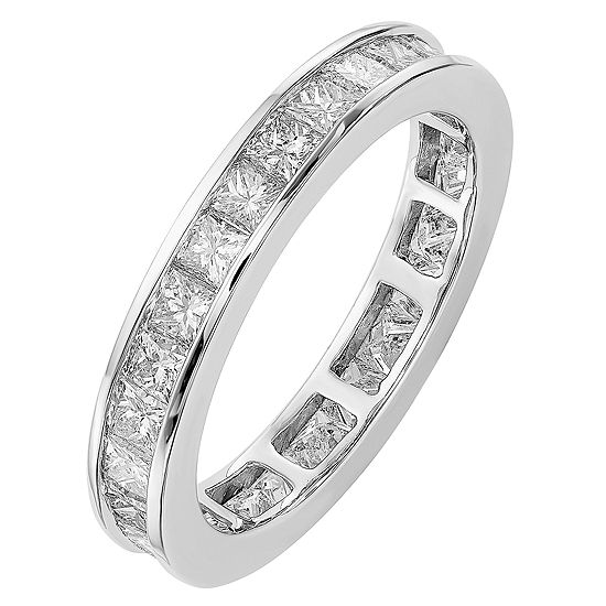 Womens 3.5MM 2 CT. T.W. Genuine White Diamond 14K White Gold Round Eternity Band